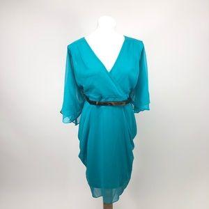 City Chic sheer blue tunic mirror dress plus size